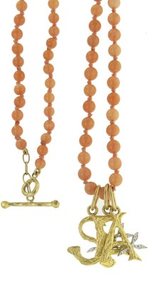 Cathy Waterman Coral Beaded Necklace in 22K Yellow Gold
