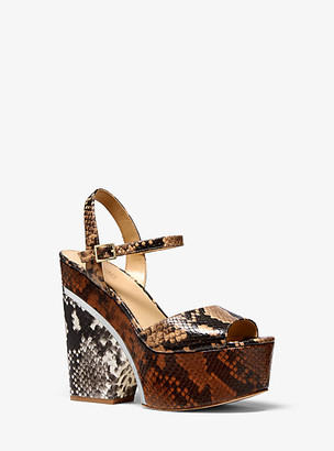 MICHAEL Michael Kors MK Lana Color-Block Python Embossed Leather Wedge Sandal - Butternut - Michael Kors