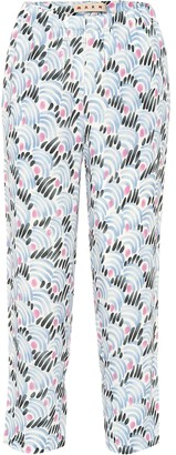 Marni Printed straight crepe pants