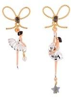 Les Nereides Pas De Deux Silvered Ballerinaand Knot Earrings.