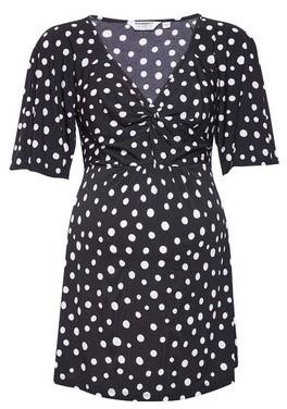 Dorothy Perkins Womens Dp Maternity Black Spot Print Wrap Interlock Twist Yarn Top