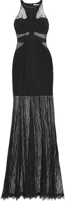Halston Crepe-paneled Lace Gown