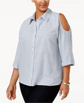 Style&Co. Style & Co Plus Size Cotton Striped Cold-Shoulder Shirt, Only at Macy's