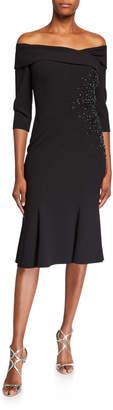 Rickie Freeman For Teri Jon Off-the-Shoulder Portrait 1/2-Sleeve Dress w/ Bead Trim