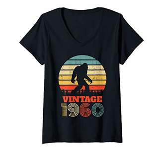 Womens 60th Birthday Gift Vintage 1960 Bigfoot Sixty Years Old V-Neck T-Shirt