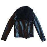 Zac Posen Black Shearling Leather Jacket for Women
