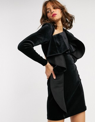 Asos EDITION mini dress with ruffle front in velvet