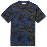 Sandro Camouflage-print Cotton-blend Jersey T-shirt - Blue