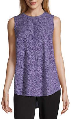 Liz Claiborne Womens Round Neck Sleeveless Henley Shirt