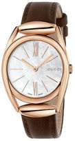 Gucci Horsebit Rose Goldtone Brown Leather Strap Watch, YA140507