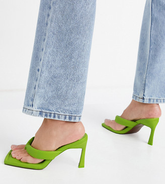 ASOS DESIGN Wide Fit Haven padded toe thong heeled sandals in lime