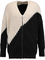 Maje Two-Tone Ribbed-Knit Cardigan