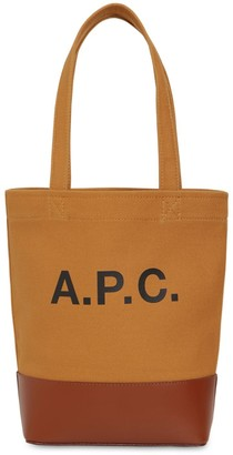 A.P.C. Sm Logo Print Cotton & Leather Tote Bag