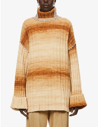 Area Embellished tie-dye pattern knitted jumper