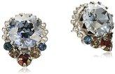 "Sorrelli Blue Brocade"" Embellished Petite Round Crystal Stud Earring"