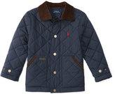 Ralph Lauren Corduroy-Trim Quilted Jacket, Navy, Size 2-7