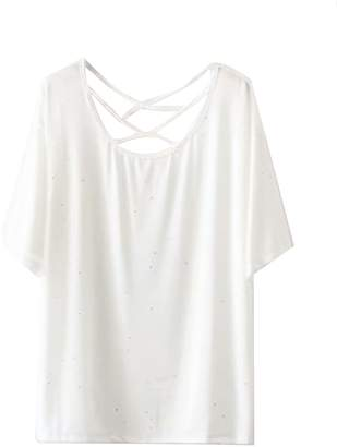 Goodnight Macaroon 'Kit' Criss Cross Strap Glittered T-Shirt (2 Colors)