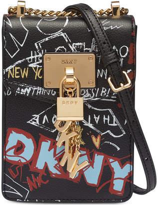 DKNY Elissa Graffiti Logo Pebble Leather Charm Crossbody