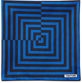 Tom Ford Linear Pattern Pocket Square, Brown/Blue