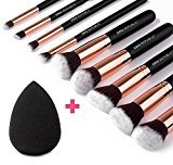 CHIC REPUBLIC 10 Piece Kabuki Contouring Makeup Brush Set with Beauty Sponge Blender, Rose Gold