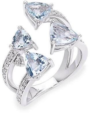Hueb Mirage 18K White Gold, Diamond & Aquamarine Open Ring
