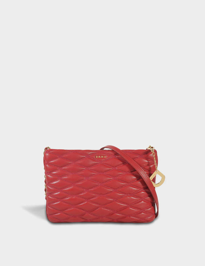 DKNY Diamond Quilted Top Zip Crossbody Bag in Scarlet Quilted Lamb Nappa Leather