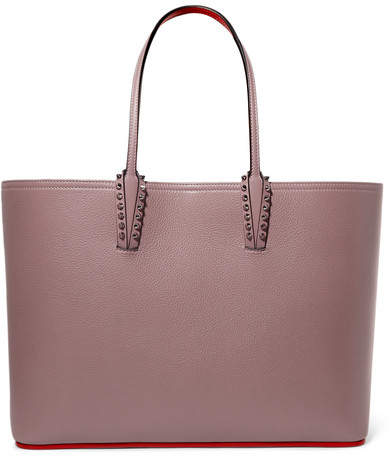 Christian Louboutin Cabata Spiked Textured-leather Tote - Blush