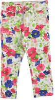 Mayoral Floral Stretch Denim Leggings, Pink/White, Size 3-7