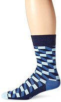 Happy Socks Men's 1 Pack Unisex Combed Cotton Crew-Blue Filled Optic