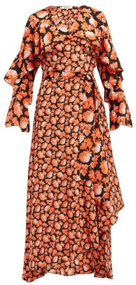 Diane von Furstenberg Isla Berry-print Silk Wrap Dress - Womens - Orange Multi
