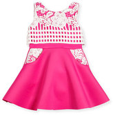 Zoe Sleeveless Lace-Trim Fit-and-Flare Scuba Dress, Pink/White, Size 2-6X