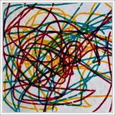 """PTM Images 9-53689 Mustard Scribbles Wall Art 68.58""""x 68.58"""""""