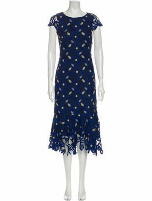 Alice + Olivia Lace Pattern Midi Length Dress w/ Tags Blue