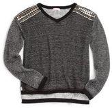 Design History Girl's Studded Slub-Knit Sweater