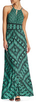 Maggy London Grid Puzzle Maxi Dress