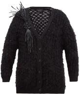 Simone Rocha Vinyl-corsage Lace-knitted Cardigan - Womens - Black