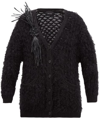 Simone Rocha Vinyl-corsage Lace-knitted Cardigan - Black
