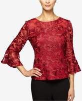 Alex Evenings Petite Embroidered Bell-Sleeve Blouse