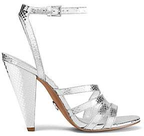 MICHAEL Michael Kors Women's Kimmy Crocodile-Embossed Metallic Leather Slingback Sandals