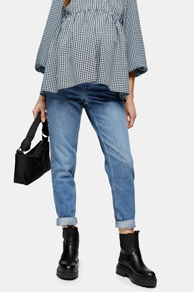 Topshop Womens **Maternity Mid Stone Mom Tapered Jeans - Mid Stone