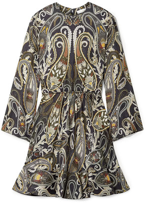 Chloé Printed Metallic Silk-blend Mini Dress