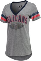 G Iii Women's G-III 4Her by Carl Banks Gray/Navy New Orleans Pelicans Walk Off Crystal Applique Logo V-Neck Tri-Blend T-Shirt