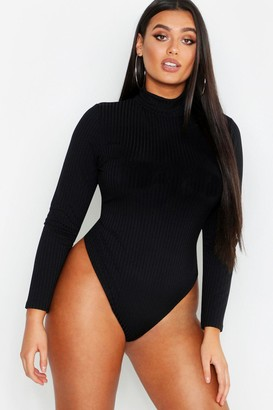 boohoo Plus Rib Neon Roll Neck Bodysuit