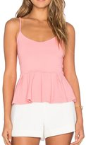 May&Maya Women's V neckline Sleeveless Pleated Peplum Top (S, )