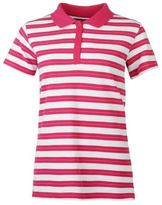 Full Circle Women Stripe Polo Tee Shirt Top Short Sleeve Cotton Fold Down Collar