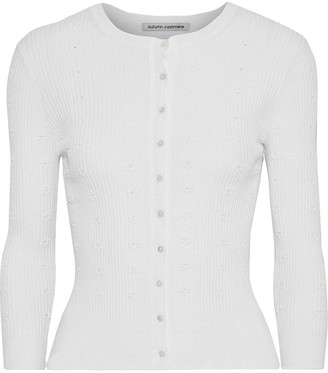 Autumn Cashmere Cropped Embroidered Ribbed-knit Cardigan