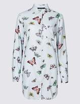 Marks and Spencer Butterfly Print Longline Long Sleeve Shirt