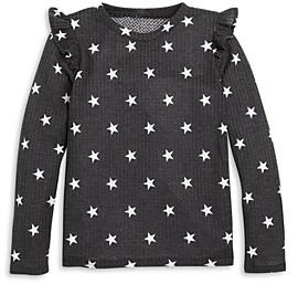 Aqua Girls' Ruffled Long Sleeve Waffle Knit Top, Big Kid - 100% Exclusive