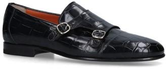 Santoni Croc-Embossed Carlos Double Monk Loafers