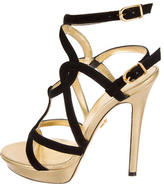 Versace Caged Leather Sandals